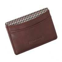 Jacob Jones 73506 Tan ID Card Case With Brown Checkered Cotton Lining